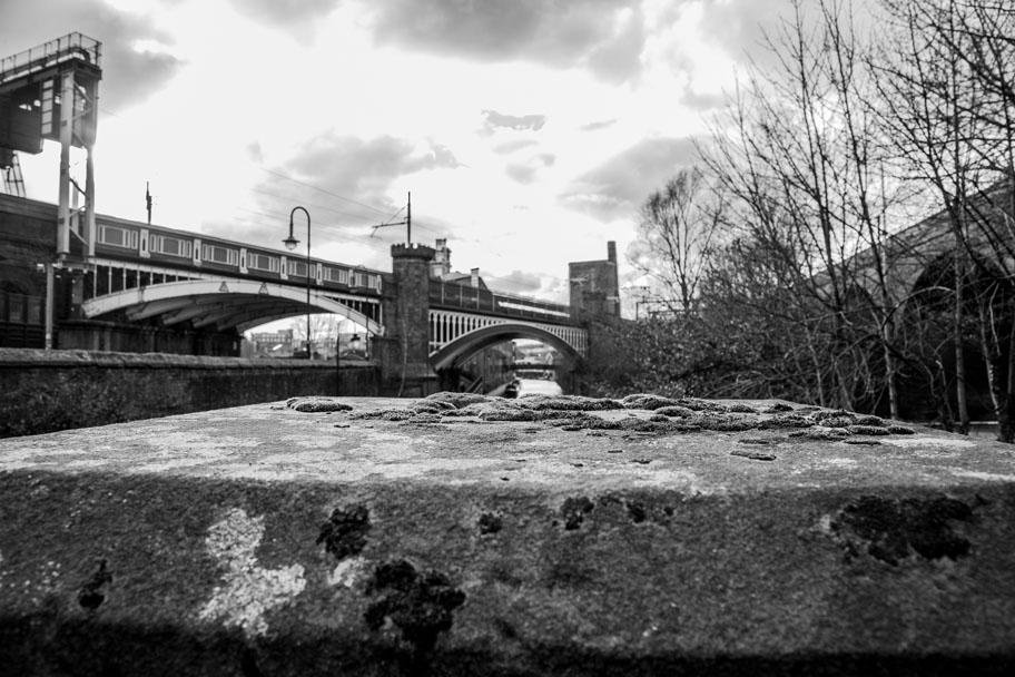 Black and white view of Castlefield from Deansgate in Manchester - photo by Ian Philip Thompson