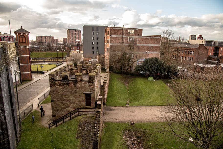 The ruins of a Roman fort are scattered throughout the Castlefield neighbourhood in Manchester, UK.